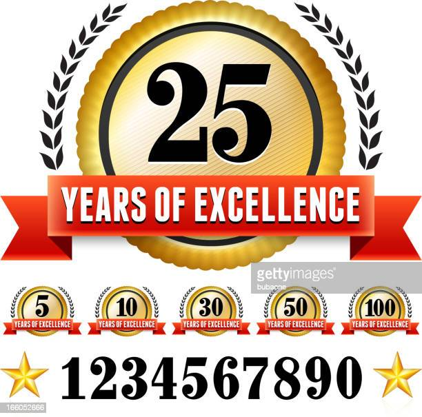 anniversary badges red and gold set - 25 29 years stock illustrations