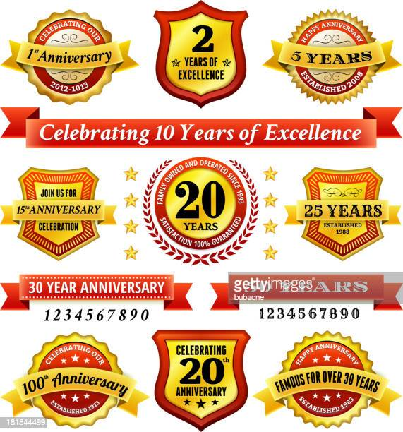 赤と金の結婚記念のバッジセット - 10周年点のイラスト素材/クリップアート素材/マンガ素材/アイコン素材