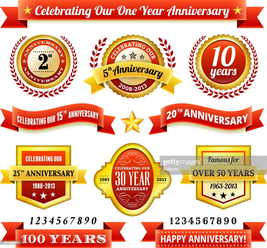 Anniversary Badges Red and Gold Set