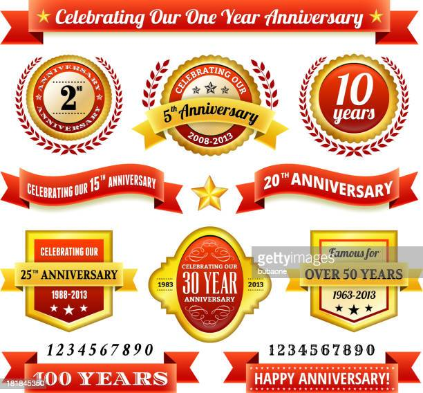 anniversary badges red and gold set - 20 24 years stock illustrations