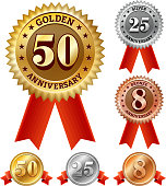 Anniversary Badges Red, Silver, and Bronze Set