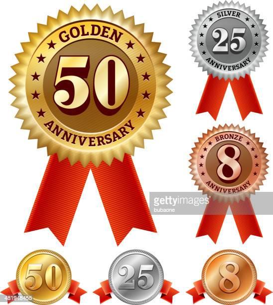 Emblemas de aniversário vermelho, prata e Bronze conjunto