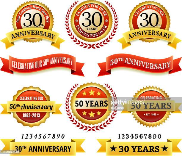 Anniversary Badges royalty free vector icon set