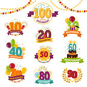 Anniversary badges set vector birthday numbers emblems holiday anniversarily festive celebration birth age letter with ribbons universal illustration isolated on white background