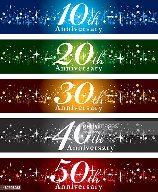 anniversary banners - 20 24 years stock illustrations