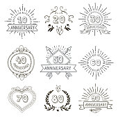 Anniversary birthdays festive emblems icons set for personalized gifts cards