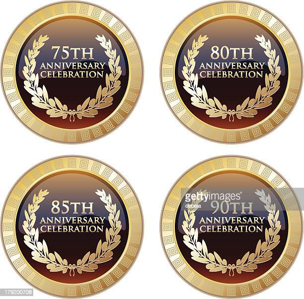 anniversary celebration award set - number 75 stock illustrations, clip art, cartoons, & icons