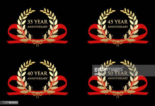 anniversary celebration gold awards - 40th anniversary stock illustrations, clip art, cartoons, & icons