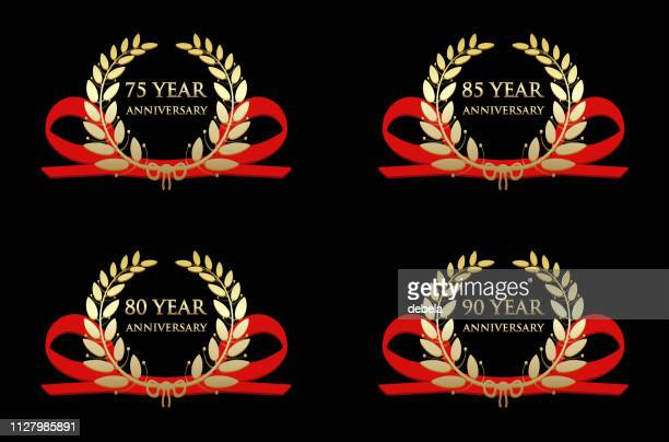anniversary celebration gold awards - 75th anniversary stock illustrations, clip art, cartoons, & icons
