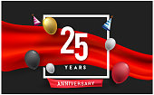 Anniversary celebration, isolated on red ribbon and balloon, vector elements for banner, invitation card and birthday party.