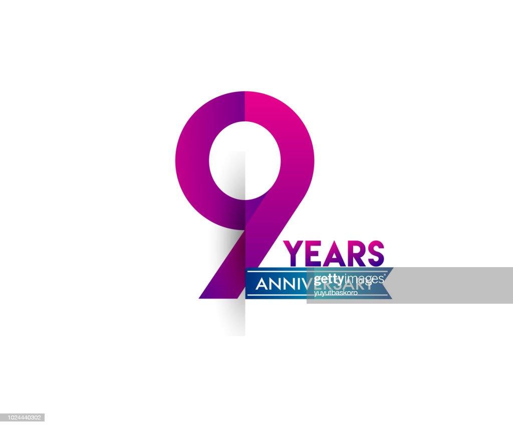 anniversary celebration logotype colorfull design with blue ribbon