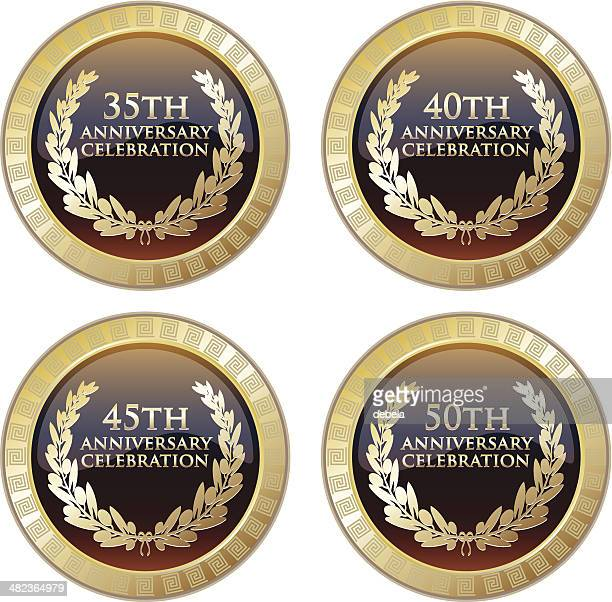 anniversary celebration medals collection - 45 49 years stock illustrations, clip art, cartoons, & icons