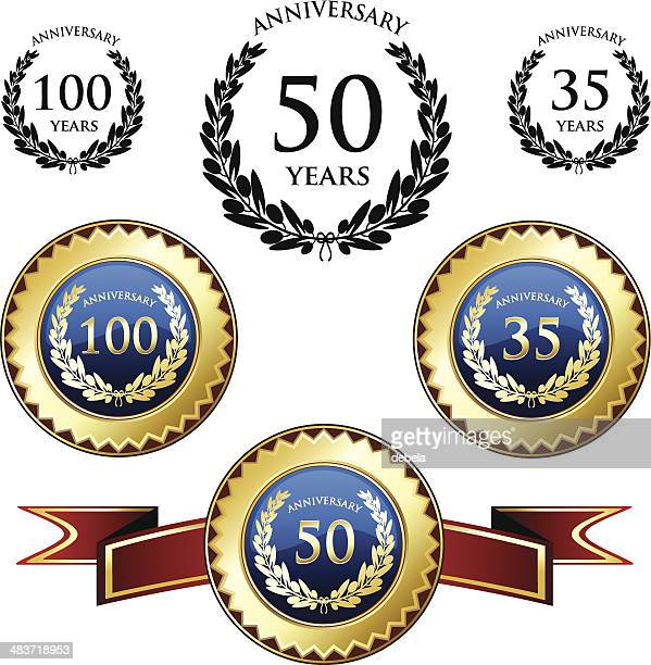 anniversary celebration medals - anniversary stock illustrations, clip art, cartoons, & icons