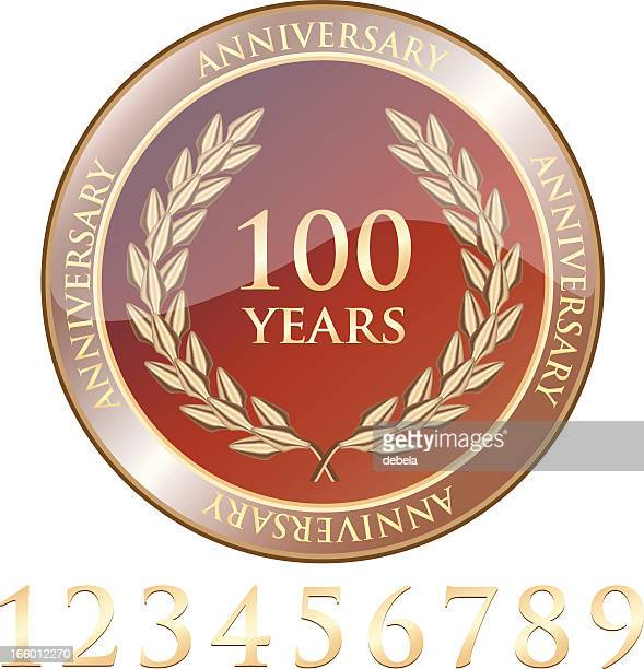 anniversary celebration shield with numbers - medallion stock illustrations, clip art, cartoons, & icons
