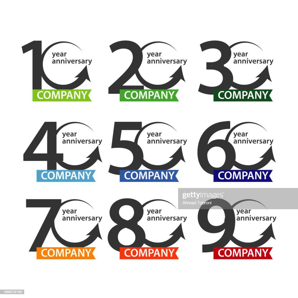 Anniversary Company icon Set Vector Template Design