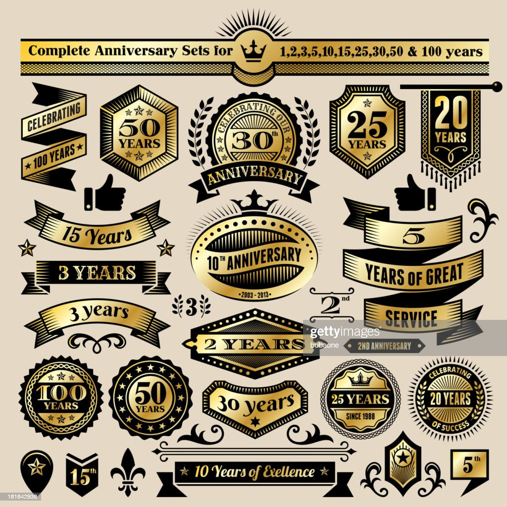 Anniversary Design Collection Black Gold Banners Badges And Symbols