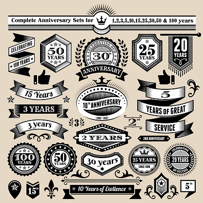 Anniversary Design Collection Black & White Banners, Badges, and Symbols - gettyimageskorea