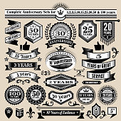 Anniversary Design Collection Black & White Banners, Badges, and Symbols