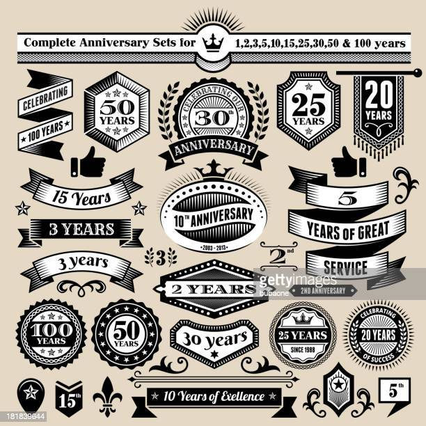 stockillustraties, clipart, cartoons en iconen met anniversary design collection black & white banners, badges, and symbols - 50 jarig jubileum