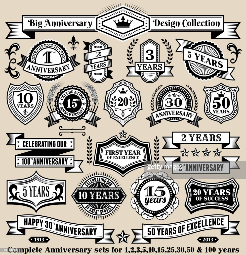 Anniversary Design Collection Black White Banners Badges And Symbols