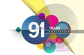 Anniversary Design, vector design birthday celebration with colorful geometric background and circles shape