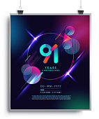 Anniversary Design with Colorful Abstract Geometric background.