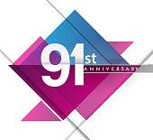 Anniversary design with geometric, vector design birthday celebration