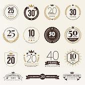 Anniversary emblem set stock illustration