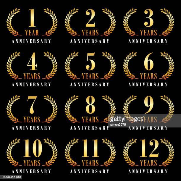周年記念エンブレム セット - 10th anniversary点のイラスト素材/クリップアート素材/マンガ素材/アイコン素材