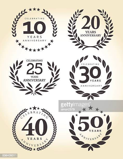 stockillustraties, clipart, cartoons en iconen met anniversary emblem set - 25 29 jaar