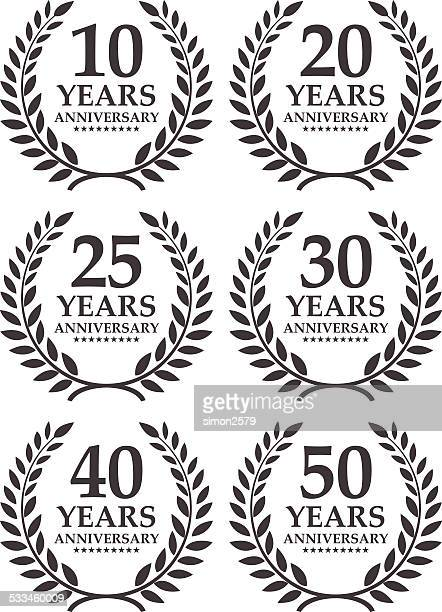 anniversary emblem - 20 29 years stock illustrations