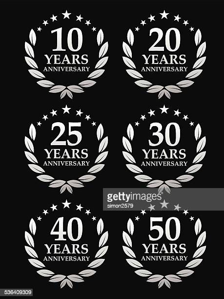 anniversary emblem - 20 24 years stock illustrations