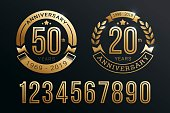 Anniversary emblems template set design with gold number style