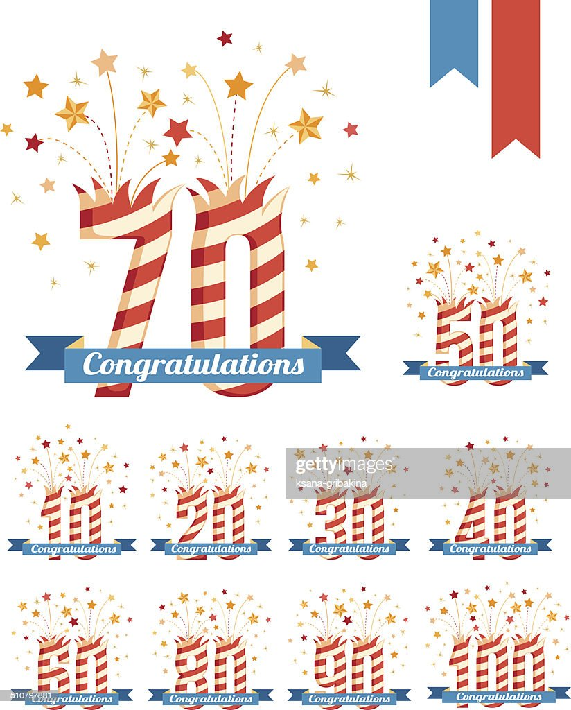 Anniversary emblems with fireworks numbers and ribbon with congratulations.