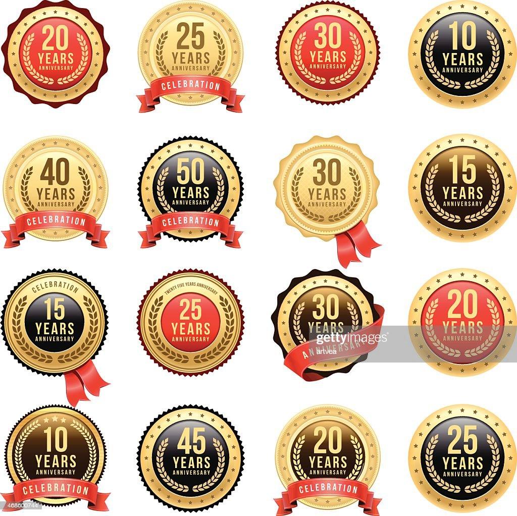 Anniversary Gold Badge Set : stock illustration