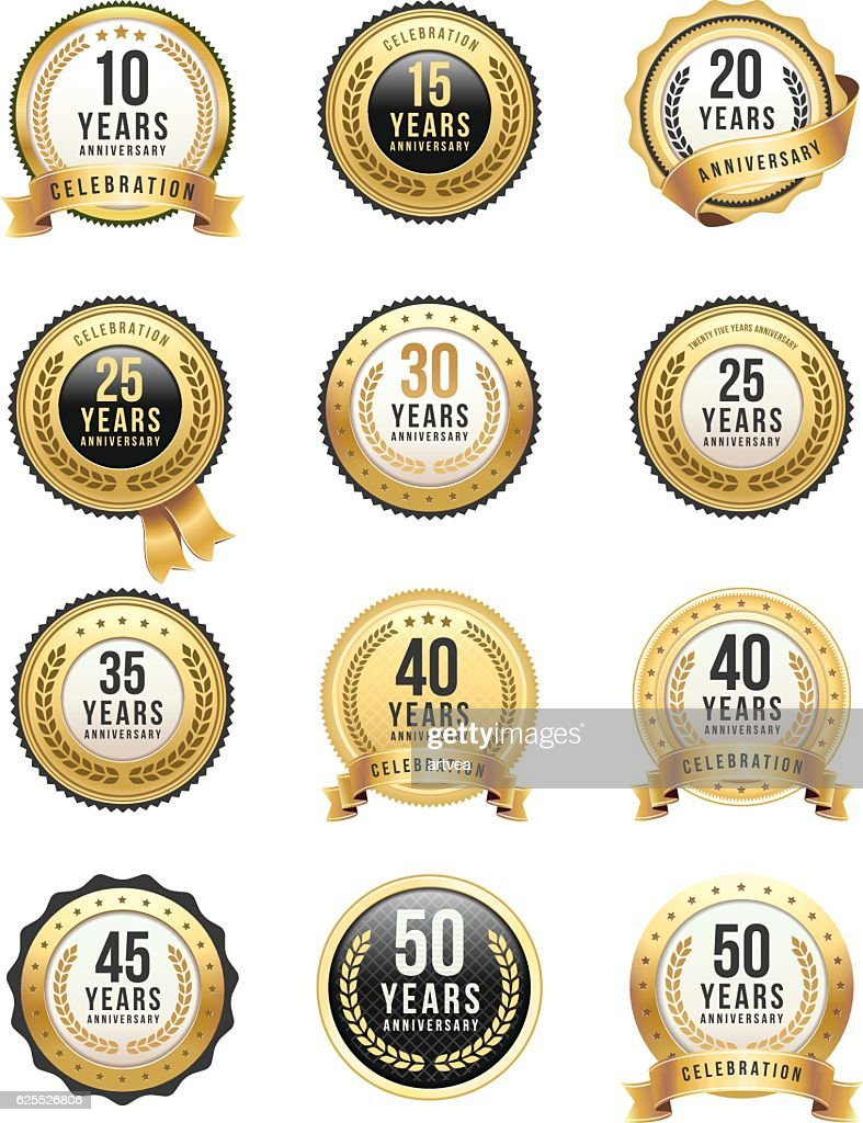 Anniversary Gold Badge Set : stock illustration
