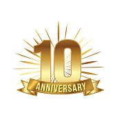 Anniversary golden ten years number