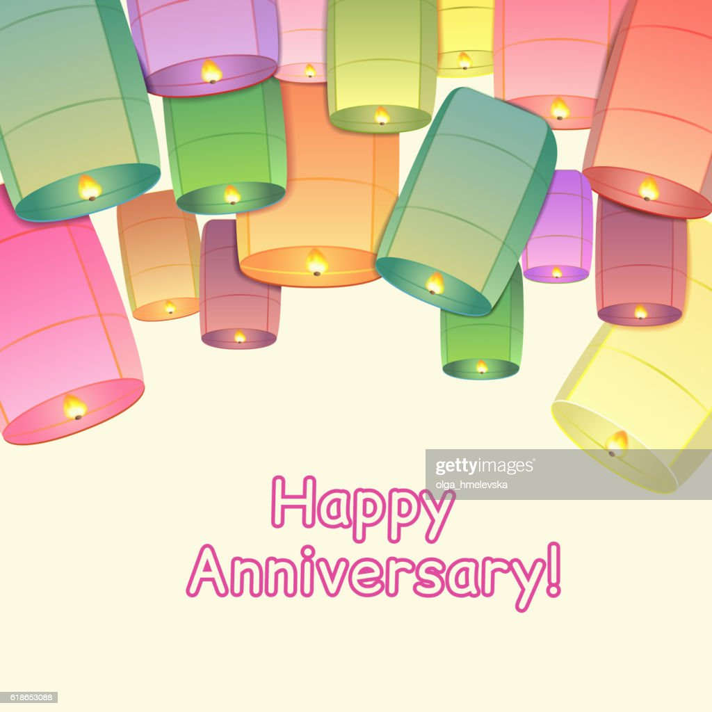 Anniversary greeting card with sky lanterns