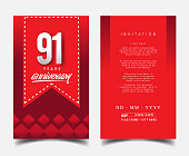 Anniversary Invitation/Greeting Card with Flat Design and Elegant