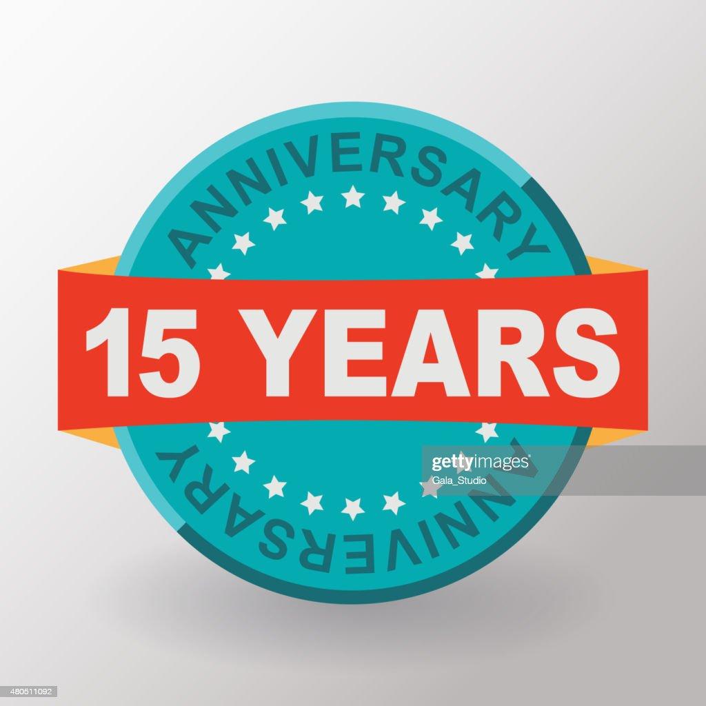 15 Anniversary label with ribbon. Flat design.