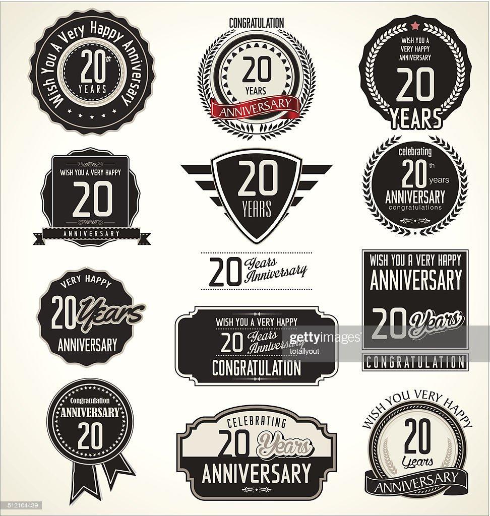 Anniversary laurel wreath retro labels, 20 years