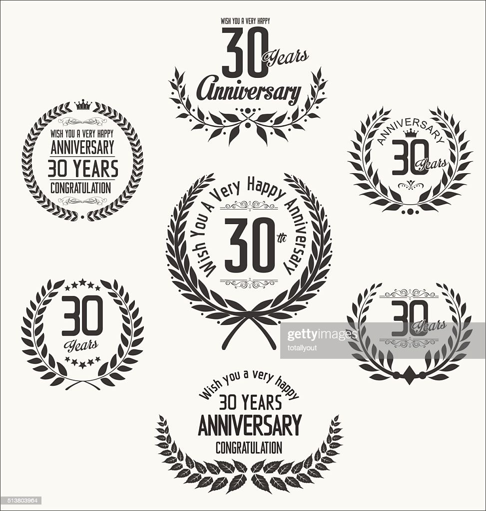 Anniversary laurel wreath retro vintage design