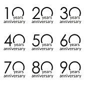 Anniversary logo set. 10,20,30,40,50,60,70,80,90 years celebrating. Birthday design template. Vector illustration.