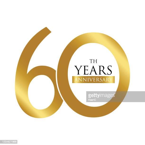 anniversary logo template isolated, anniversary icon label, anniversary symbol stock illustration - 60th anniversary stock illustrations