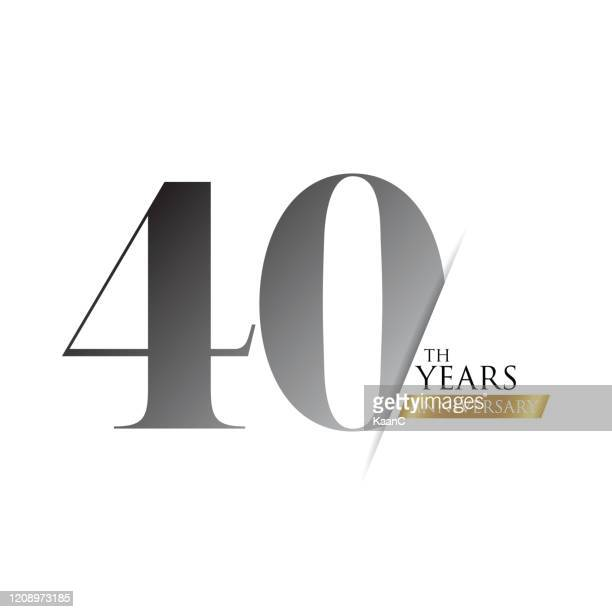 anniversary logo template isolated, anniversary icon label, anniversary symbol stock illustration - 40th anniversary stock illustrations