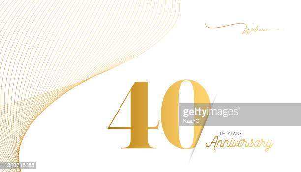 ●記念品ロゴテンプレートは分離、記念日アイコンラベル、記念銘柄ストックイラスト。ゴールドの色の手のレタリングとハッピーアニバーサリーの挨拶テンプレート。 - 数字の40点のイラスト素材/クリップアート素材/マンガ素材/アイコン素材