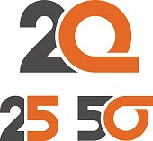20 25 50 anniversary number vector