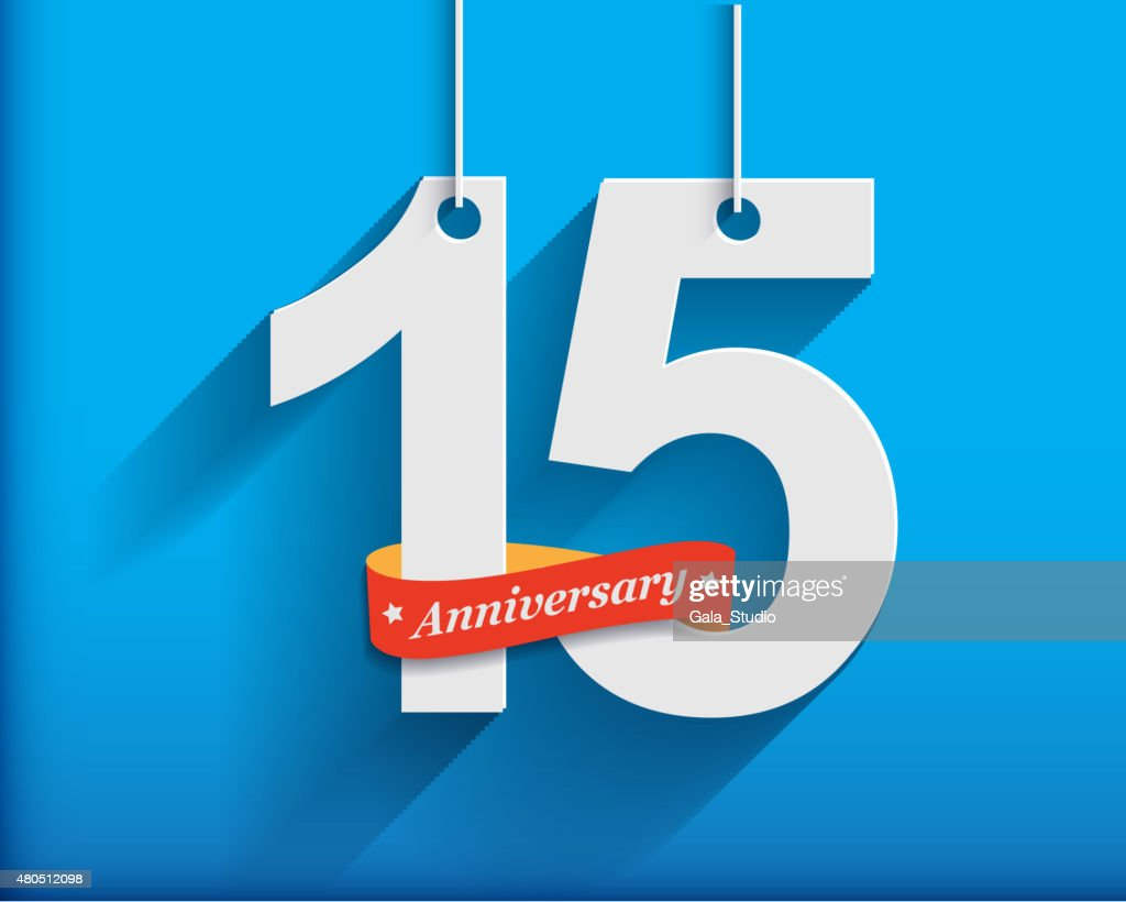 15 Anniversary numbers with ribbon. Flat origami style with long