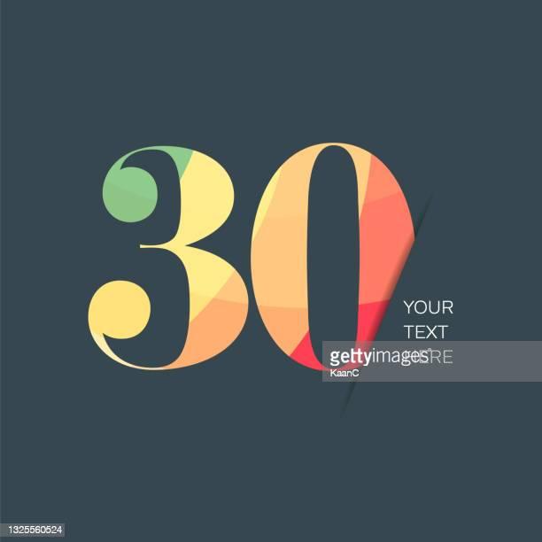 記念日またはステップ番号シンボルテンプレートは、カラフルな番号、記念銘柄のストックイラストを分離しました。カラフルな文字付きの番号テンプレート。 - 30周年点のイラスト素材/クリップアート素材/マンガ素材/アイコン素材