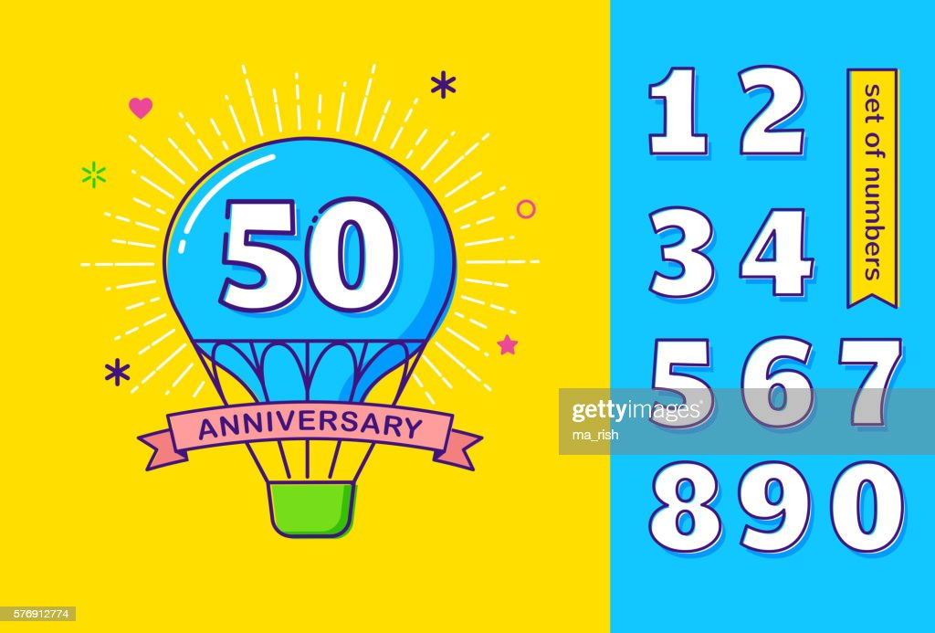 Anniversary outline colorful background, hot air balloon, set of numbers